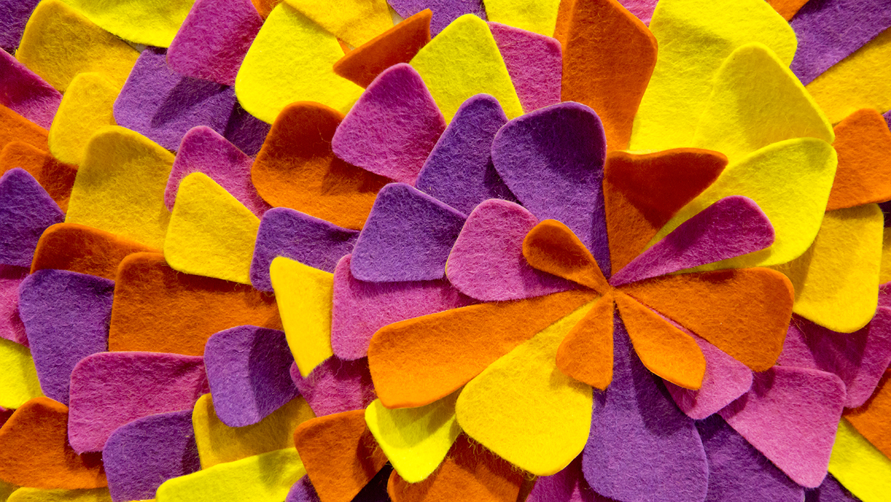 Detail of colorful felt petals on the letter