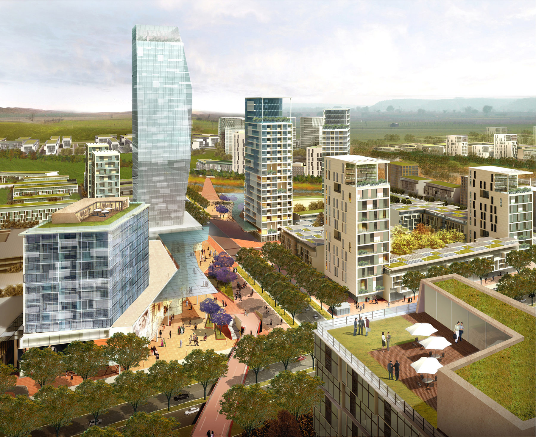 Aerial rendering of the community overlooking towers