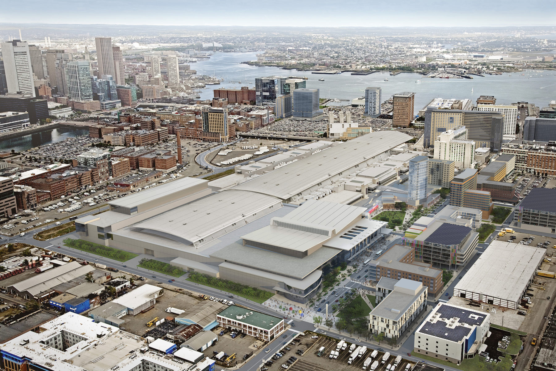 Aerial rendering of the convention center and D street