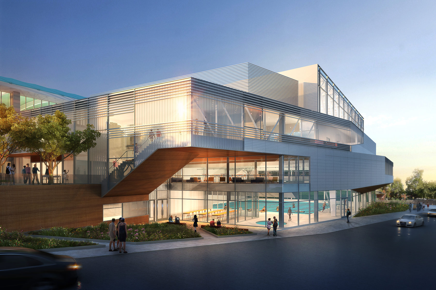 Exterior rendering of the gym illuminated at dusk