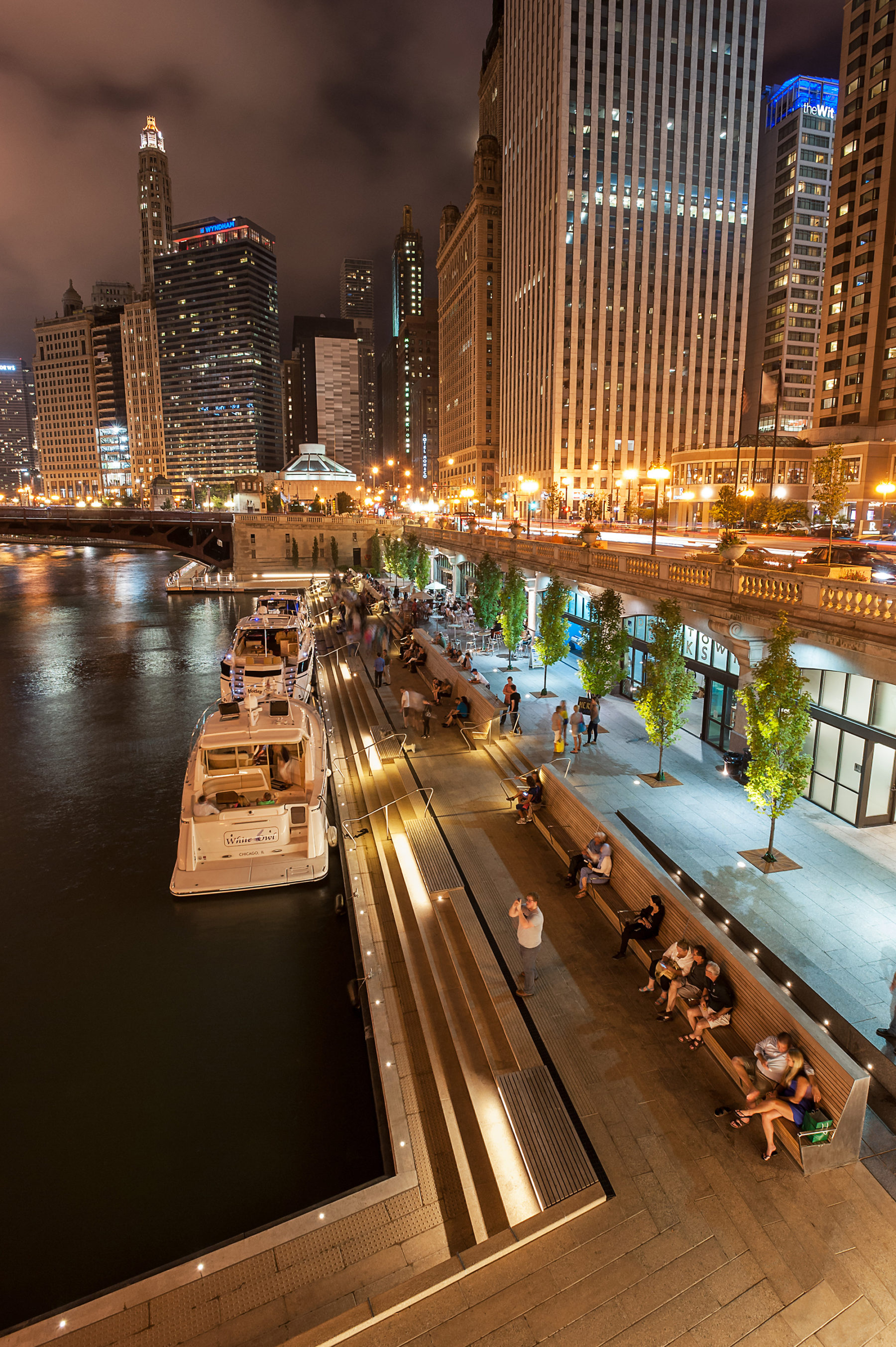 riverwalk boat launch at night