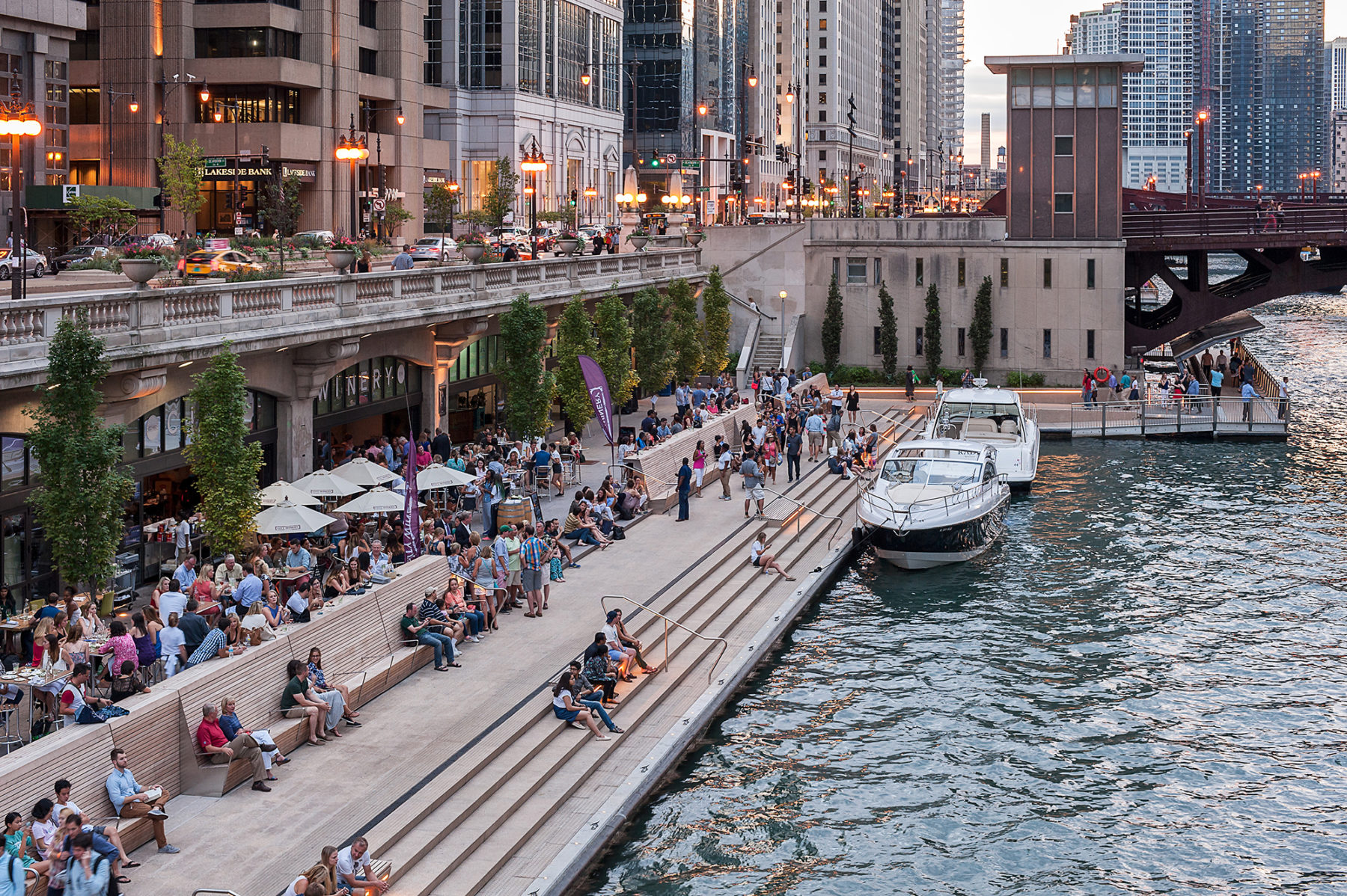 Image of chicago riverwalk from ground level