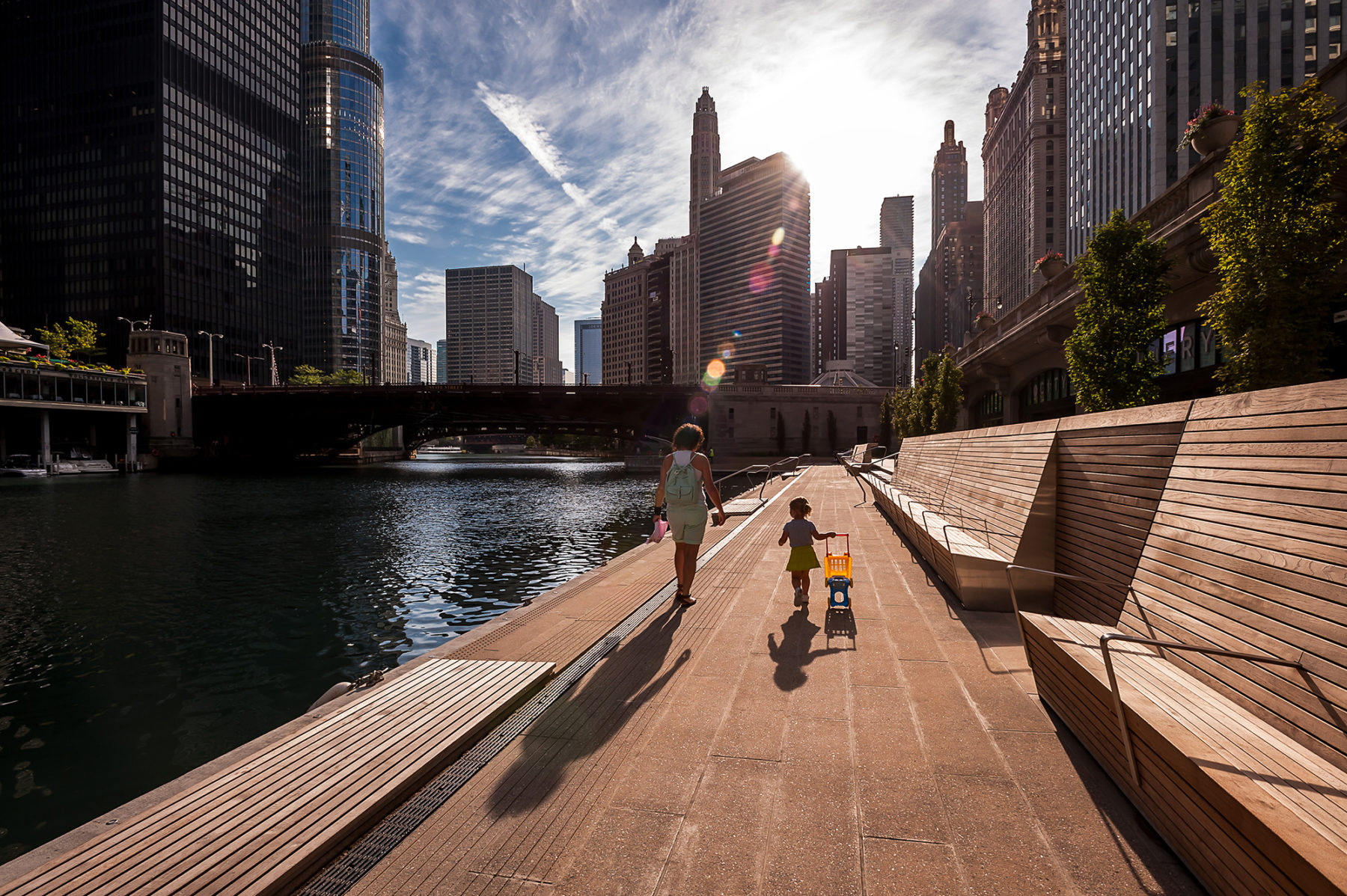 Image of people walking on chicago riverwalk