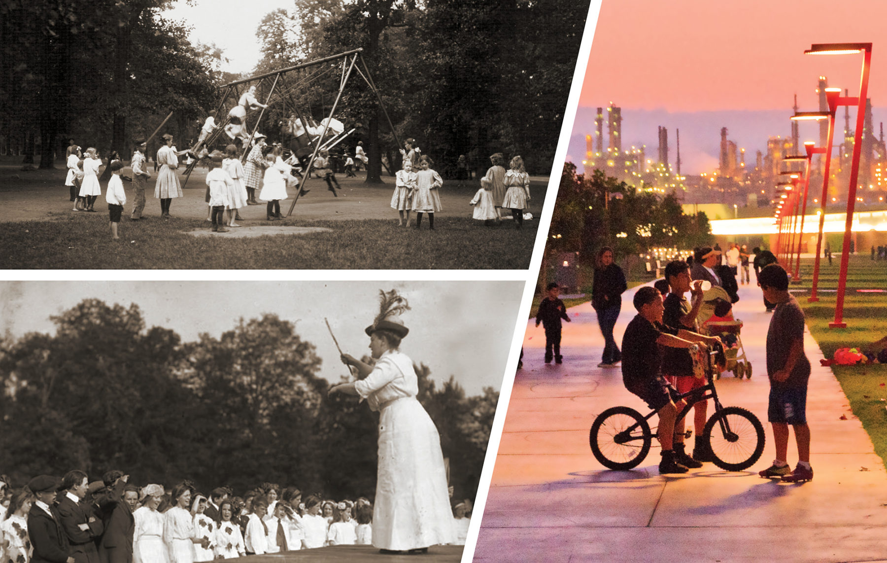 Photo collage of parks in the Victorian era and contemporary parks