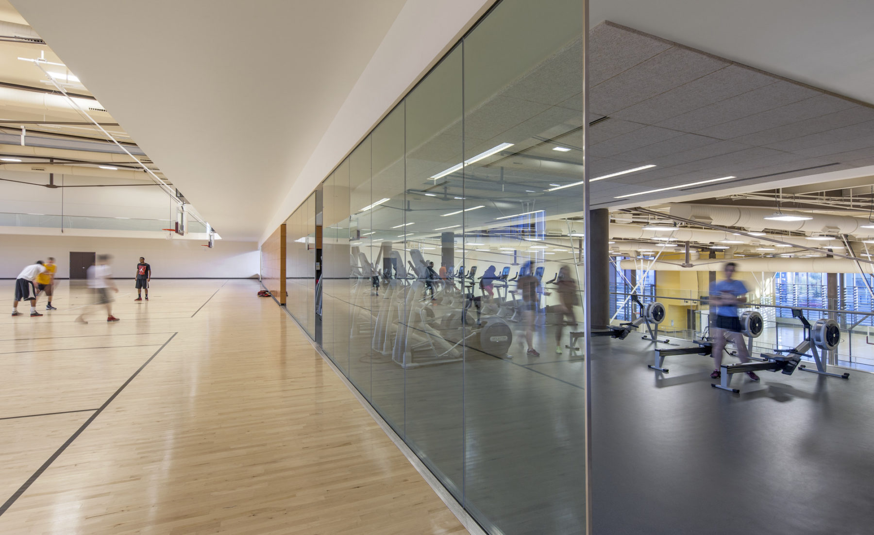 Basketball court and cardio area