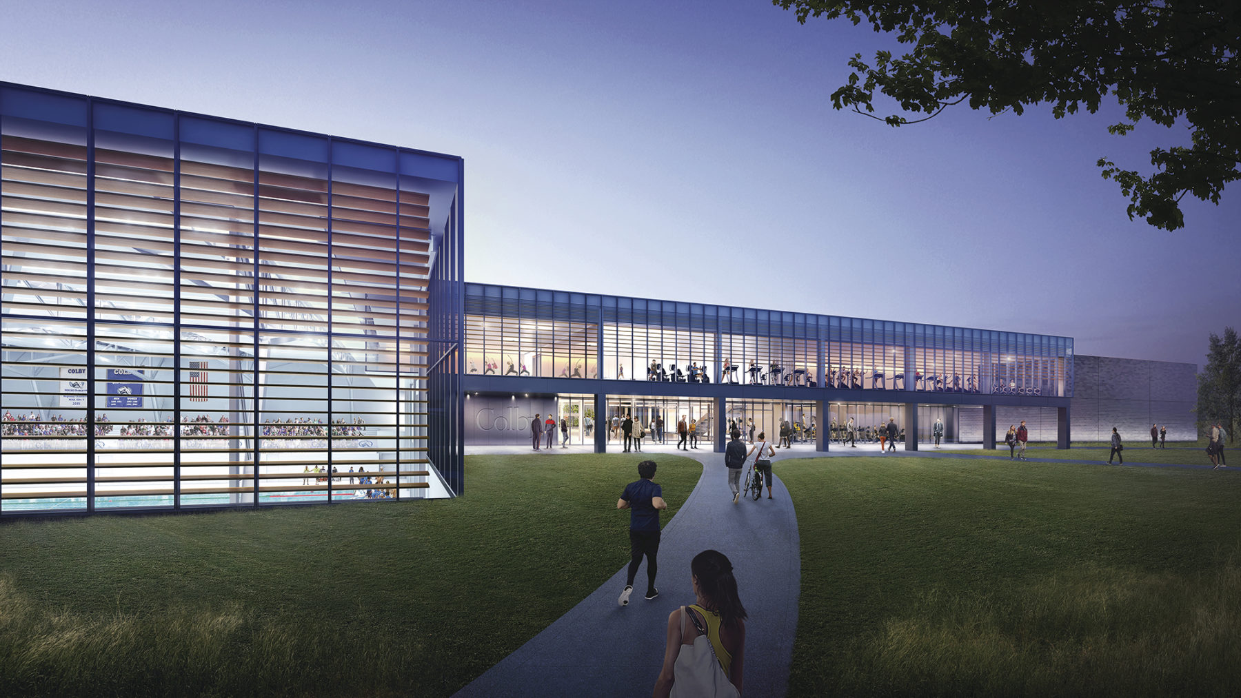 Exterior render of colby college athletics building