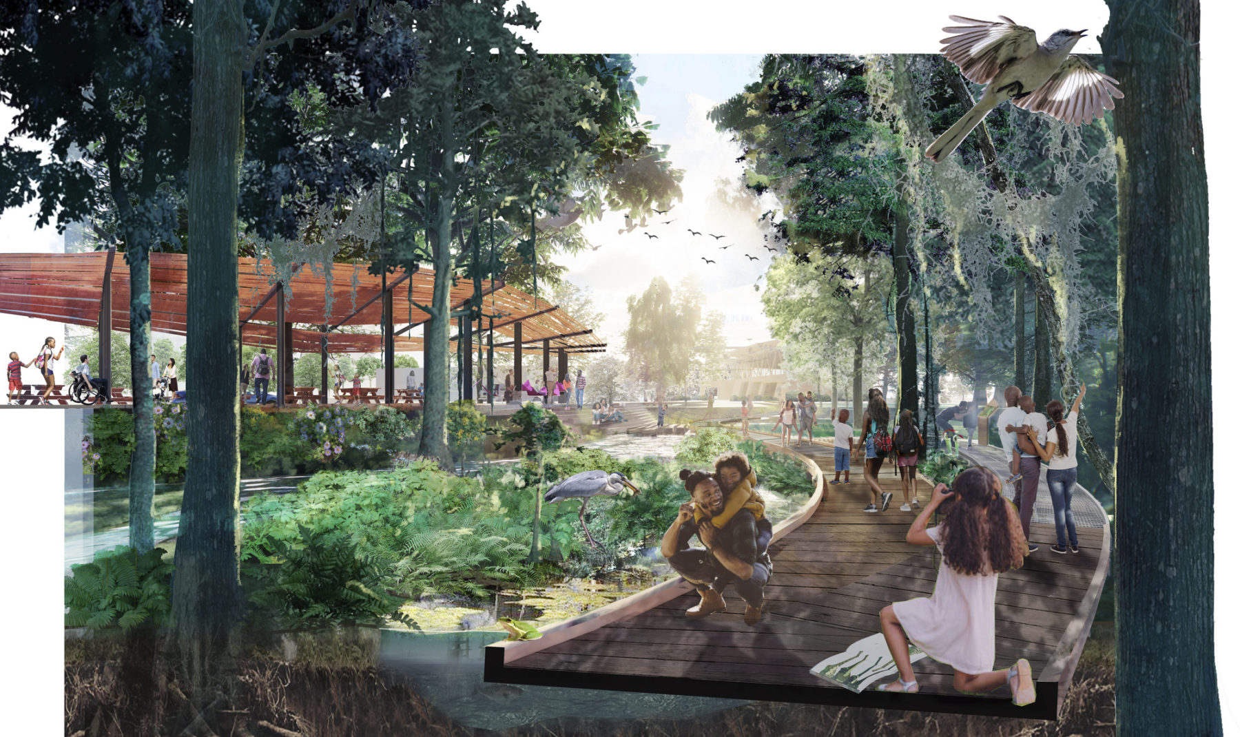 Rendering of the Bayou promenade. Families pose for pictures with wildlife along the walk.