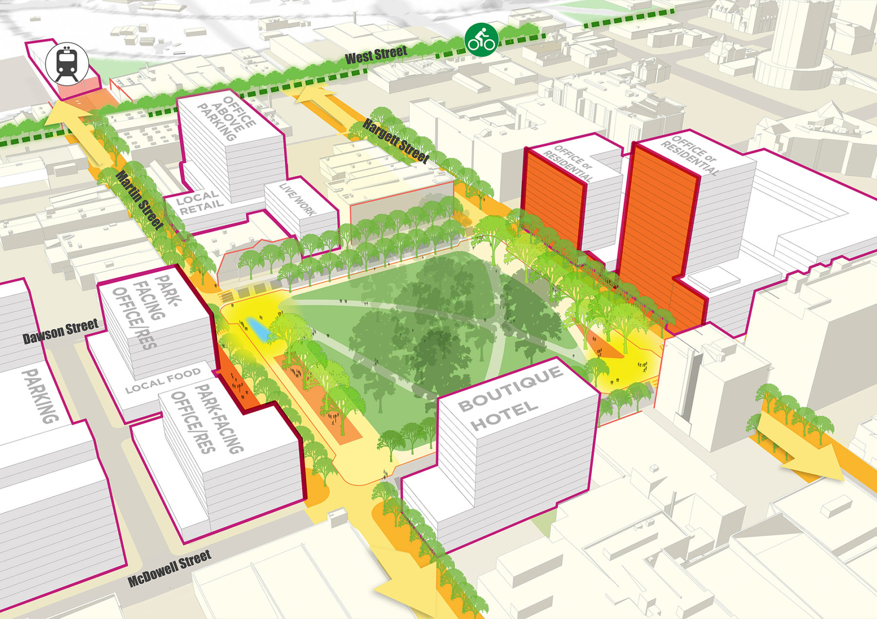 Site plan of downtown Raleigh with park in the middle surrounded by buildings