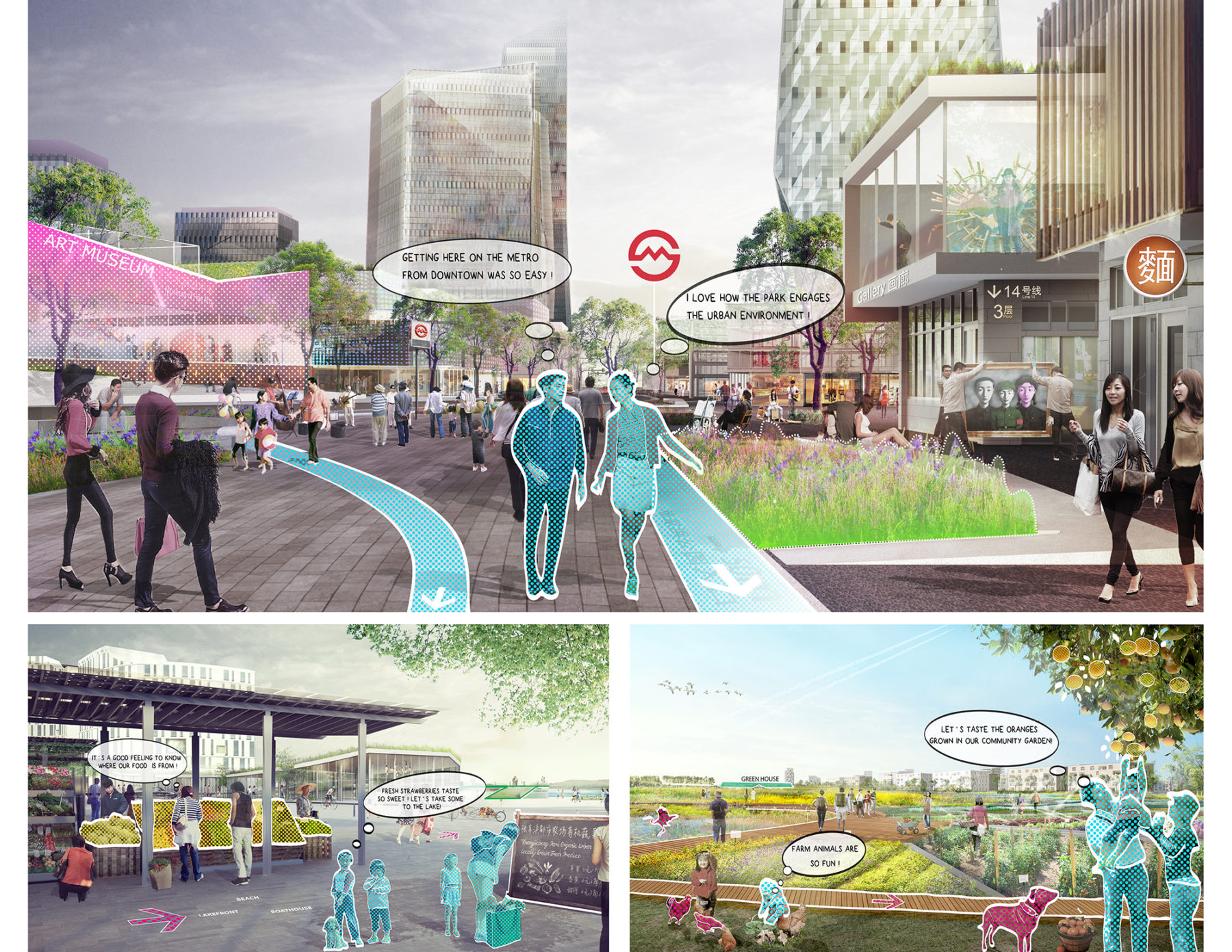 Trio of renderings: People gather in the plaza near the art museum (top); Peoples shop at a produce stand (bottom left); People enjoy the community garden (bottom right)