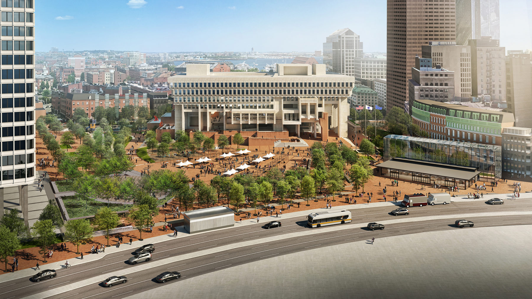 aerial rendering of boston city hall and plaza
