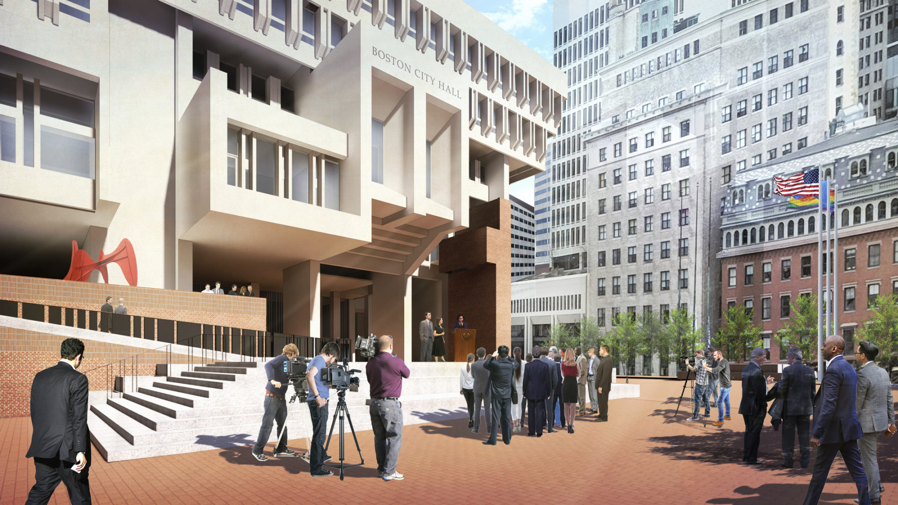 rendering of person speaking at a podium in boston city hall plaza