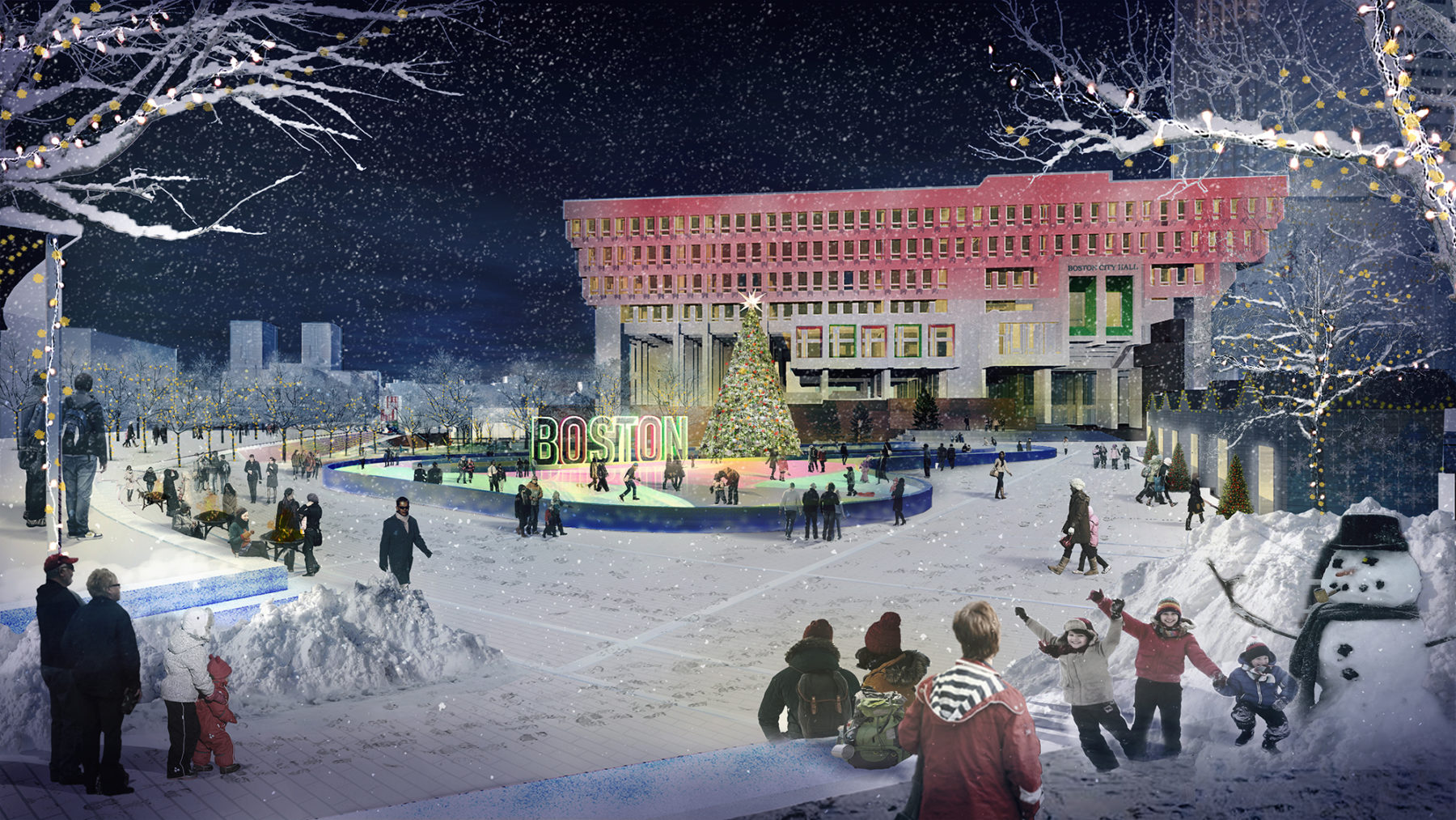 rendering of people ice skating in the plaza in winter