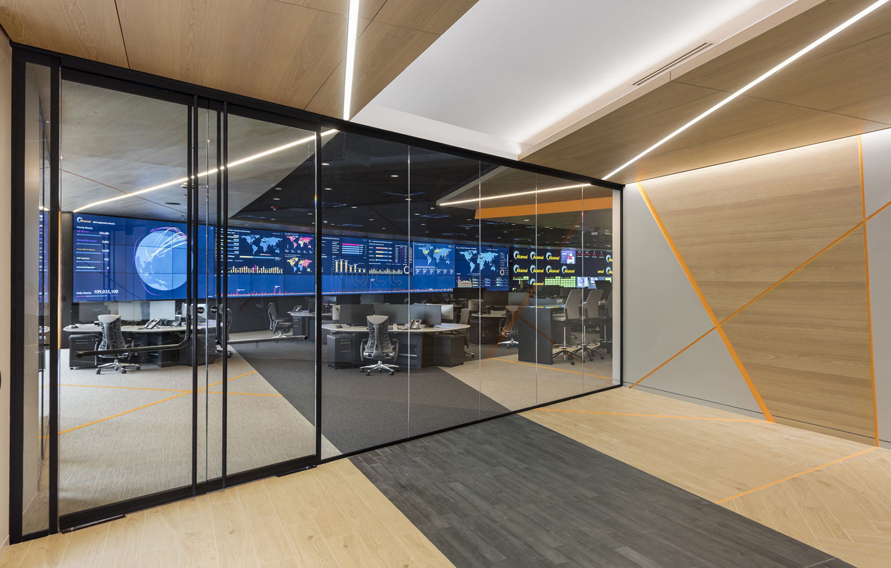 view through glass doors into technology space