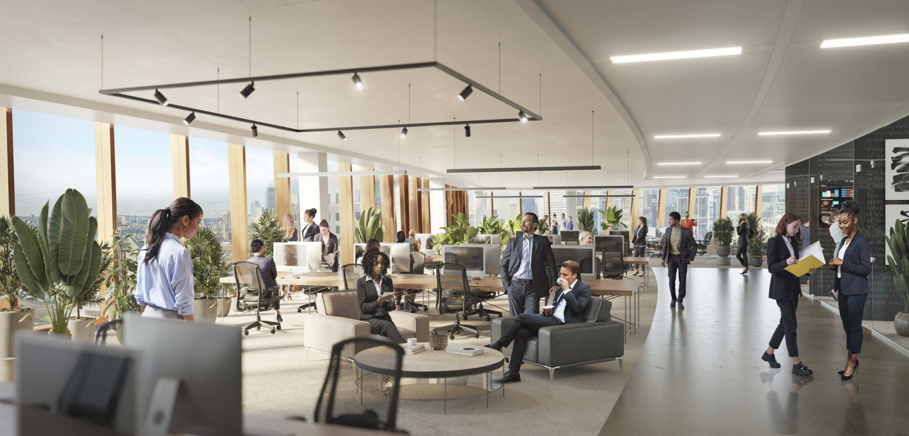 Interior rendering of office space