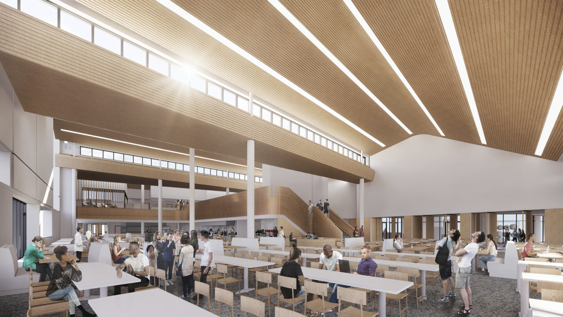 perspective rendering view of dining hall interior, wood ceiling with light streaming in
