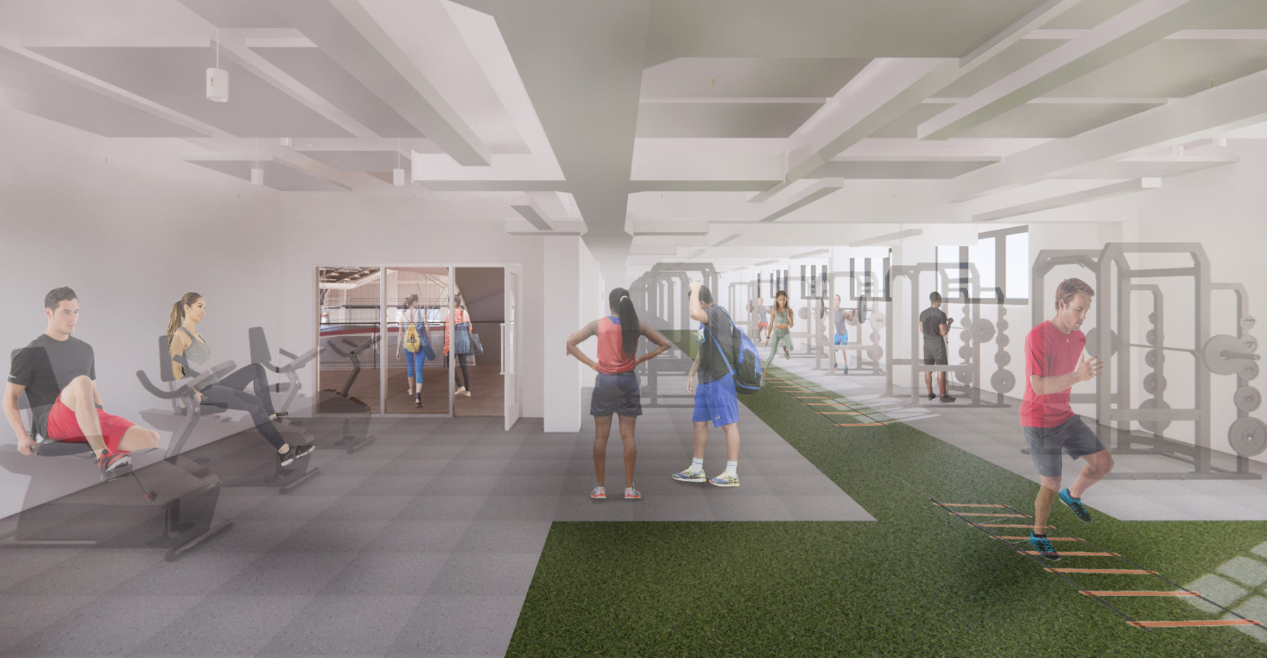 interior rendering of varsity workout area
