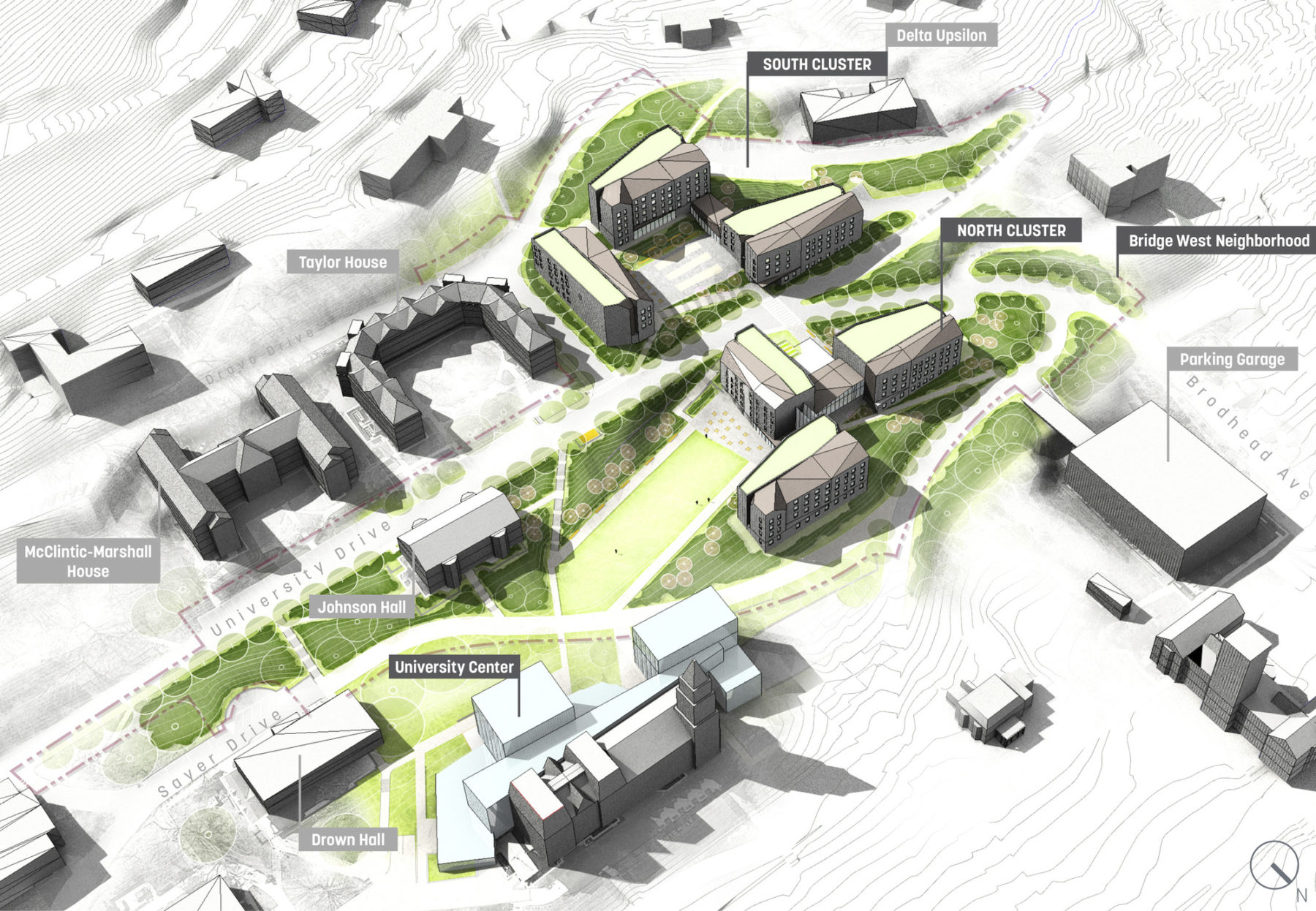 axon diagram of new campus neighborhood featuring new housing