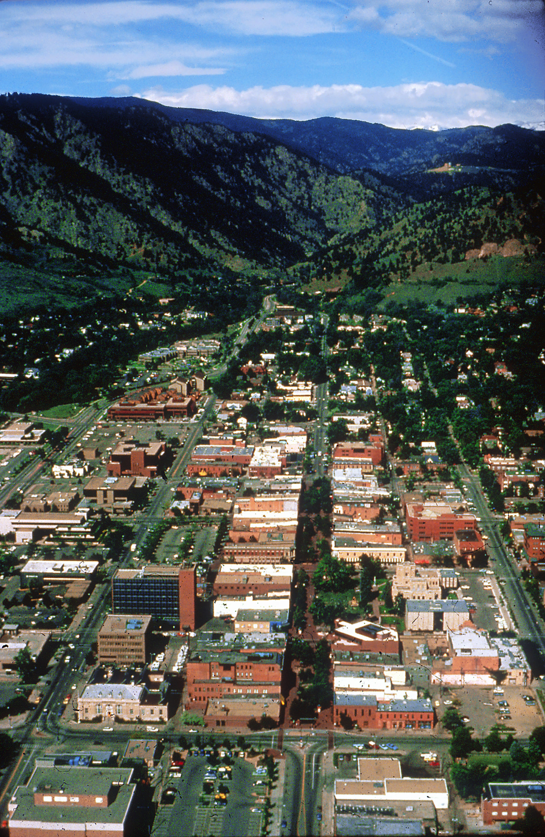 aerial photo of the street looking towards the mountatins