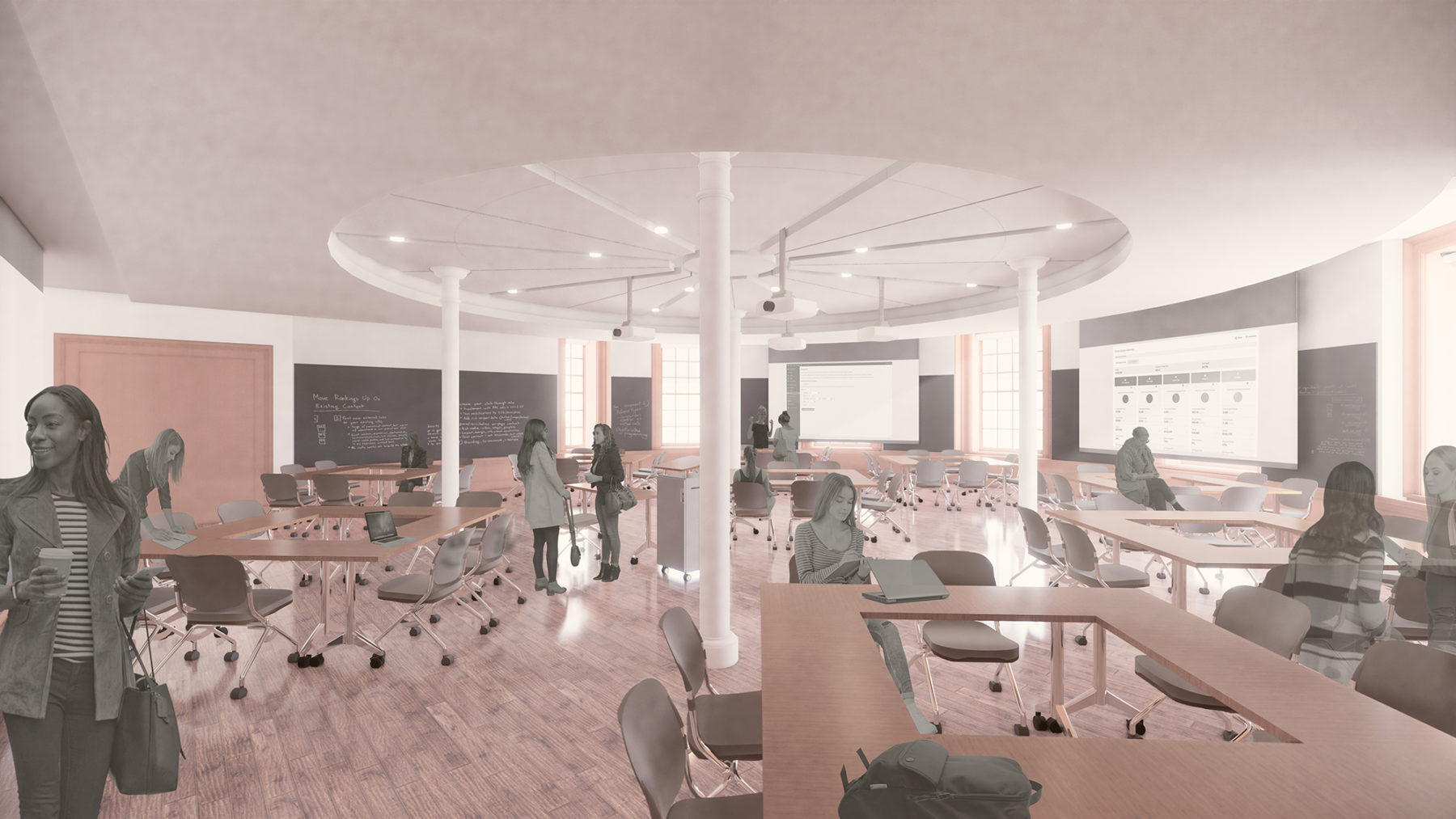 Rendering of students in a circular classroom