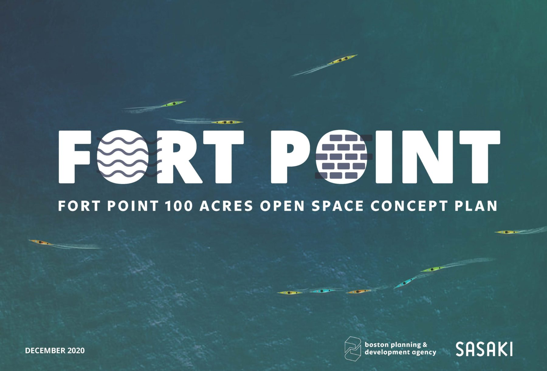 Graphic that says Fort Point 100 Acres Open Space Concept Plan