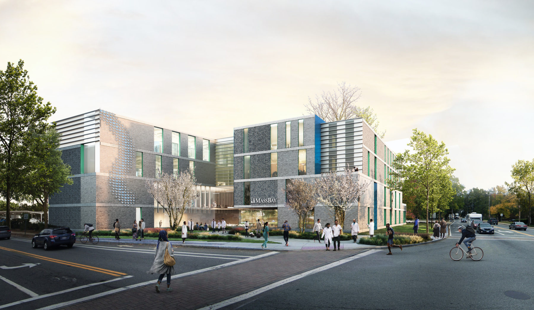 exterior rendering of the building with people crossing the street in front